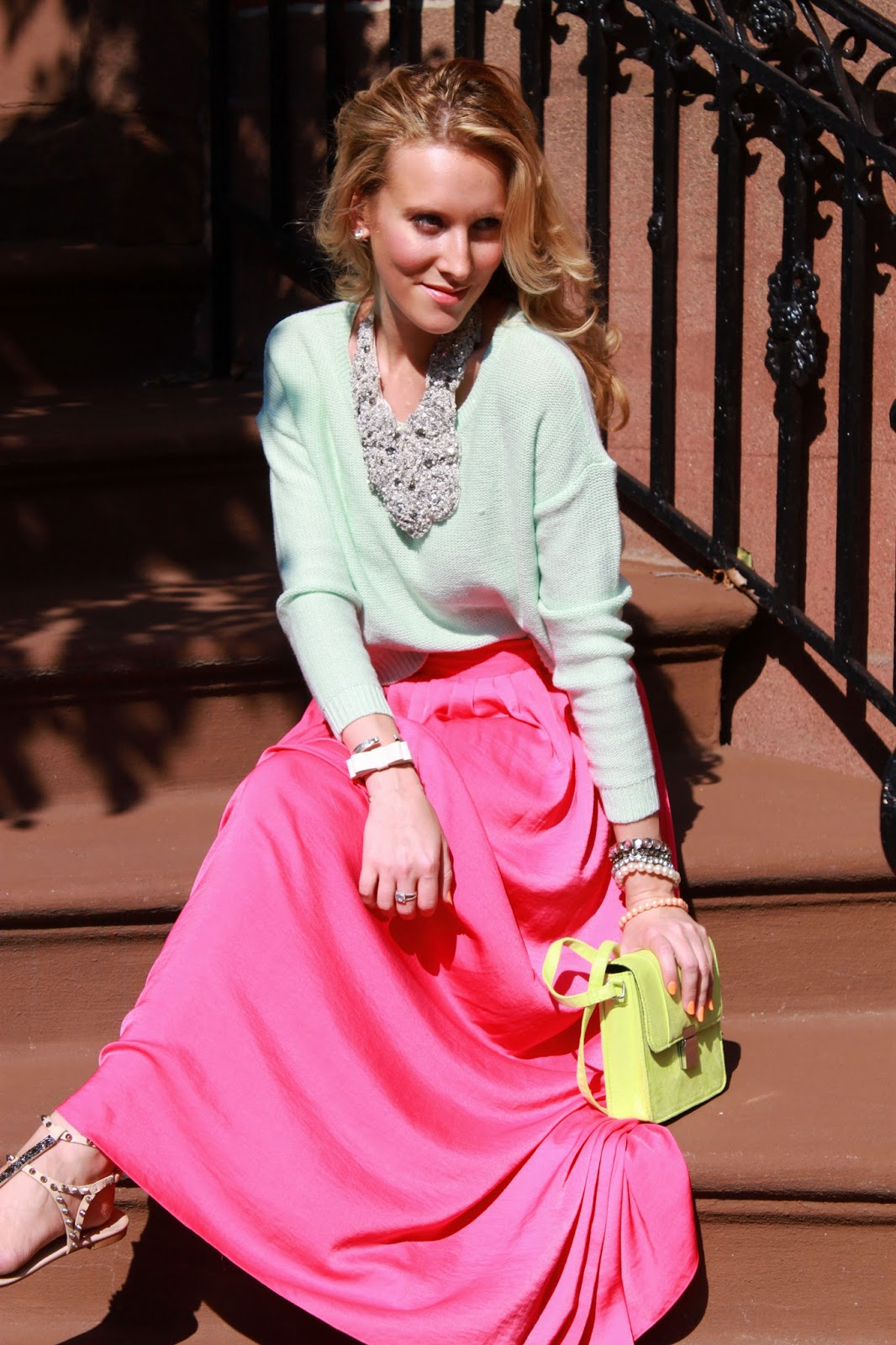 pic1-bcbg-pink-maxi-skirt-zara-studded-sandals-statement-necklace-mint-sweater