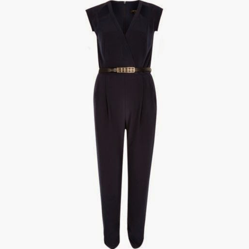 navy belted jumpsuit, river island navy jumpsuit,