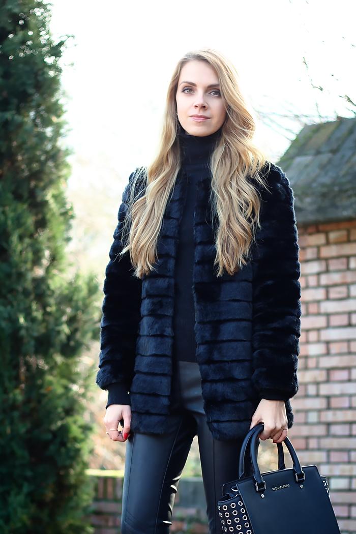 faux fur coat, Michael Kors Selma studded satchel, total black outfit, leather pants