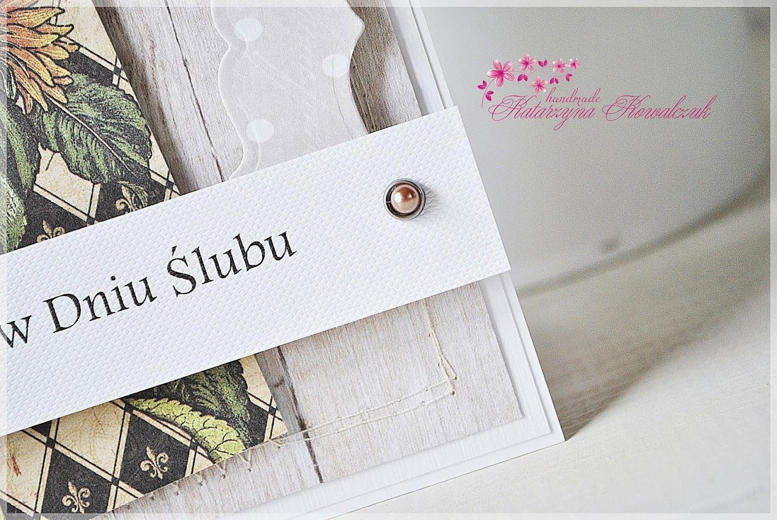 kartka ślubna w stylu wiejskim scrapbooking