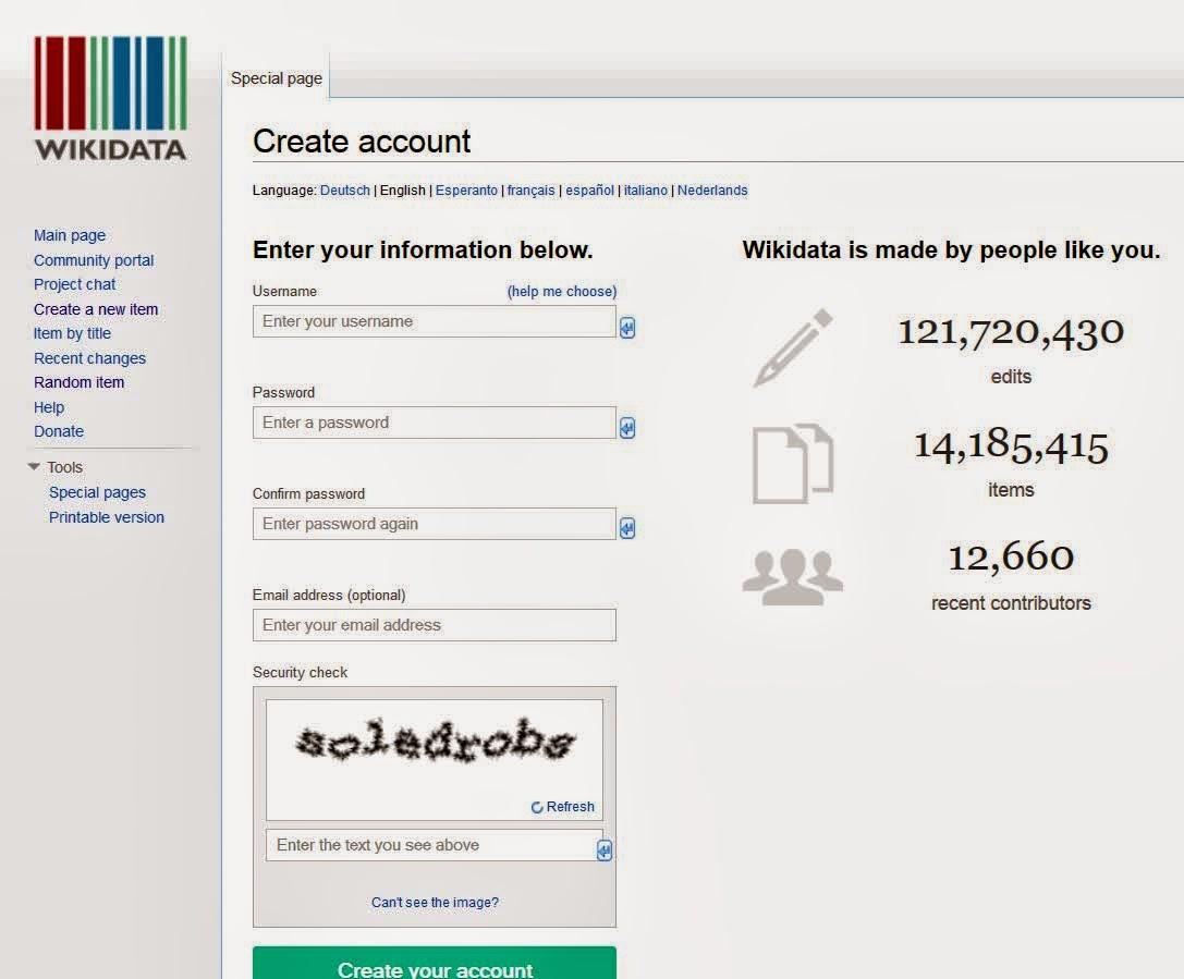 wikidata create new account