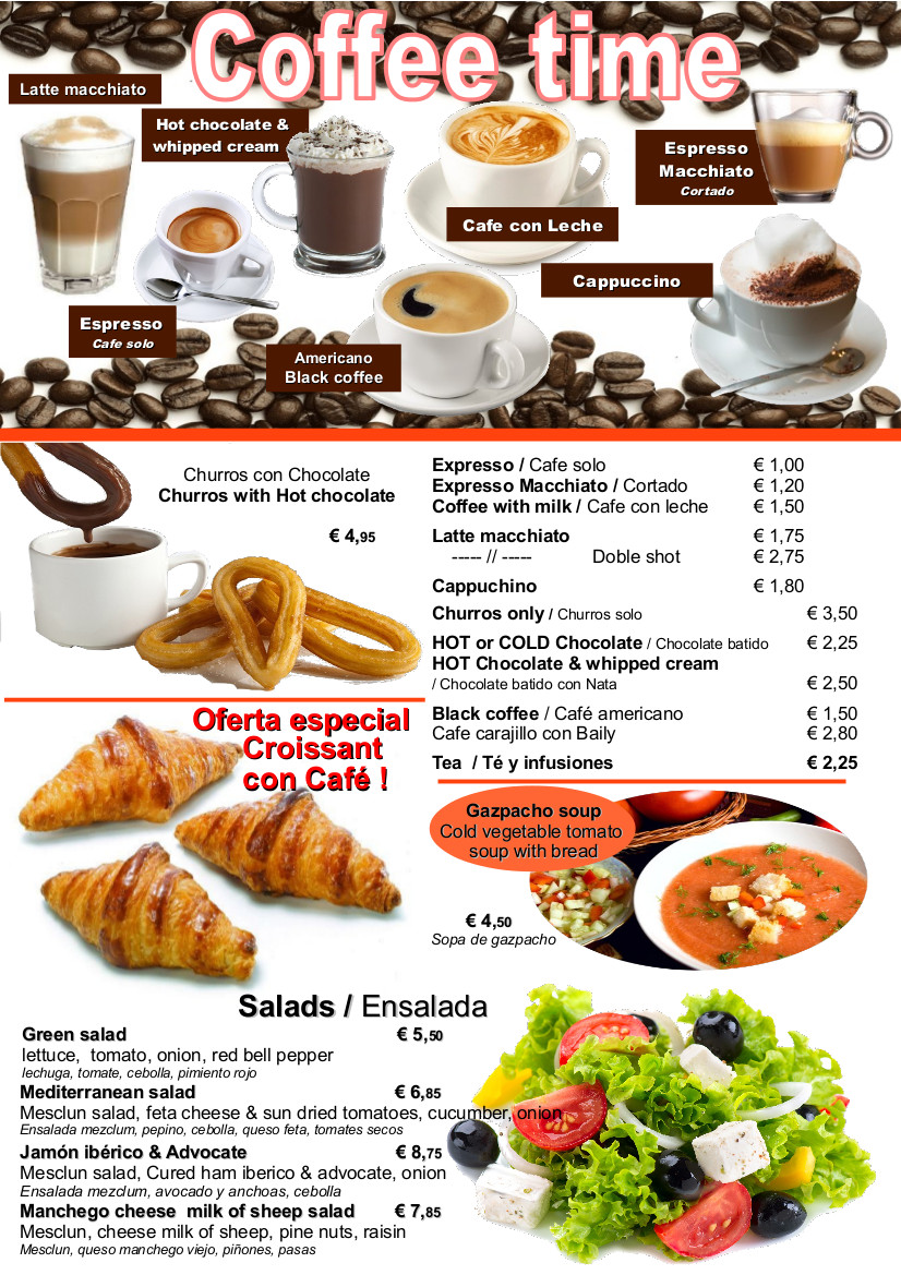 easy up selling spanish coffee desserts