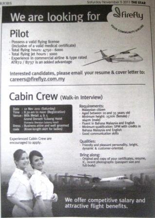 To Be Air Hostess Firefly Cabin Crew Walk In Interview