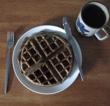 buckwheat waffles and birch syrup