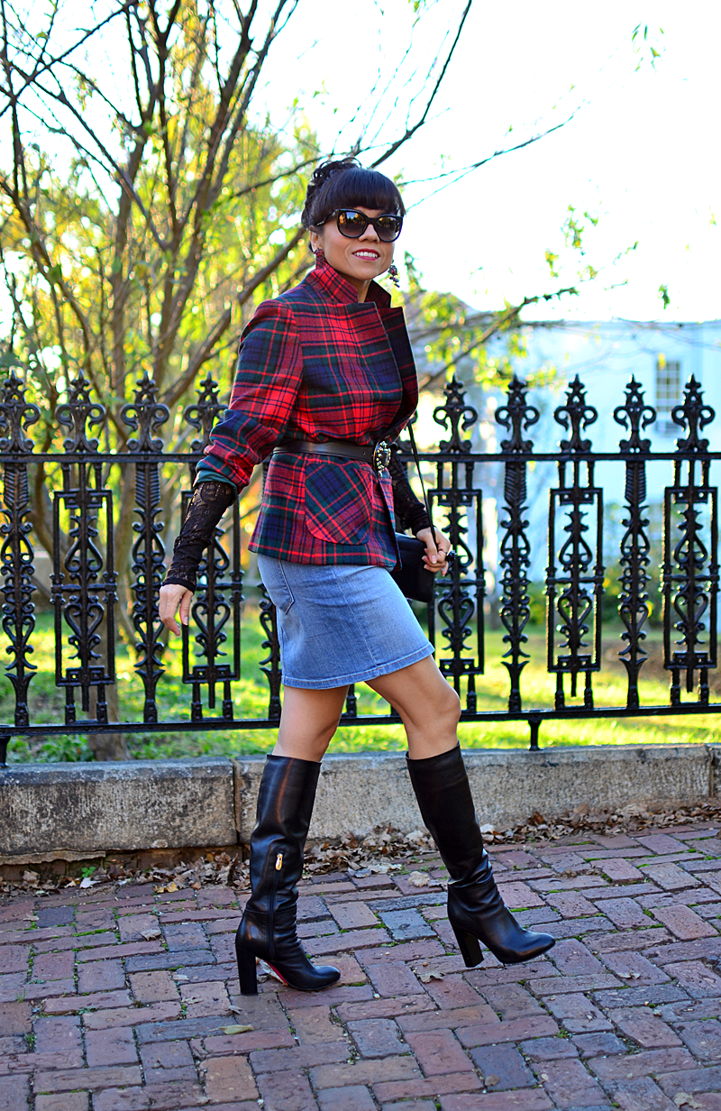 Outfit with denim pencil skirt street style