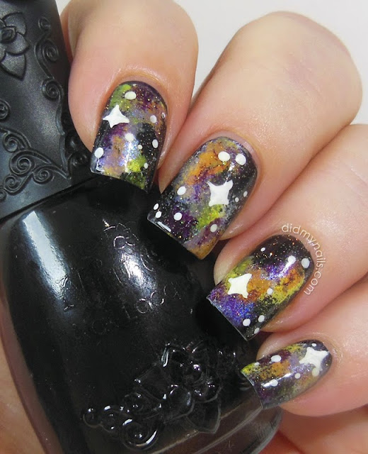 Halloween galaxy nails