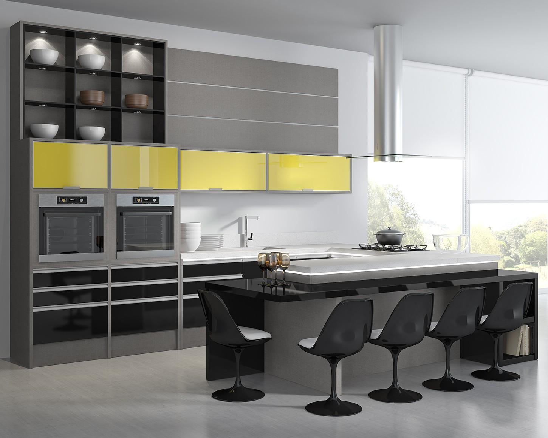 Lino/Preto High Gloss/Vidro Amarelo #9B8D30 1450x1160 Armario Banheiro Modular