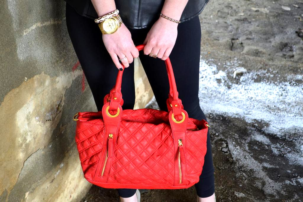 red quilted bags
