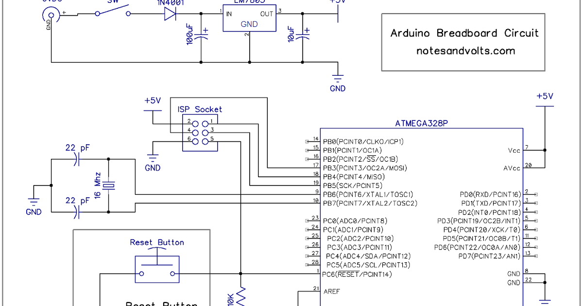 Notes and Volts: Fun with Arduino - Arduino on a Breadboard