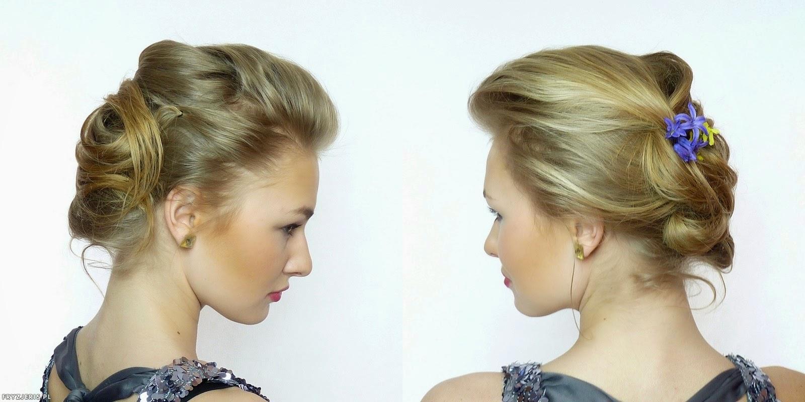 fryzury ślubne - upięcie z kwiatami 3