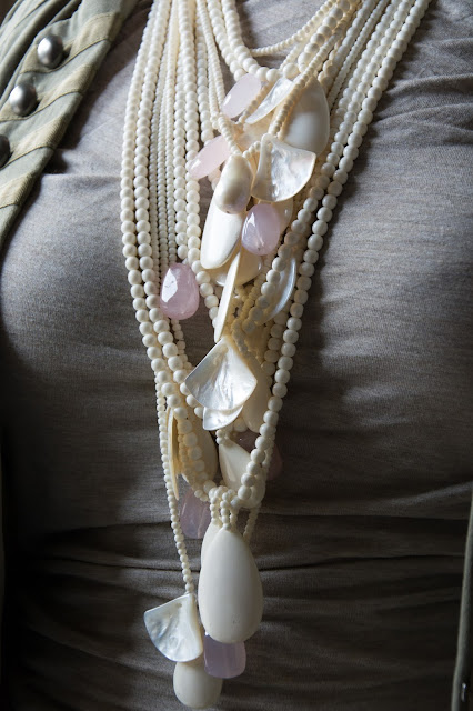 The bone and mother of pearl necklace with Rose Quartz and very large pearl