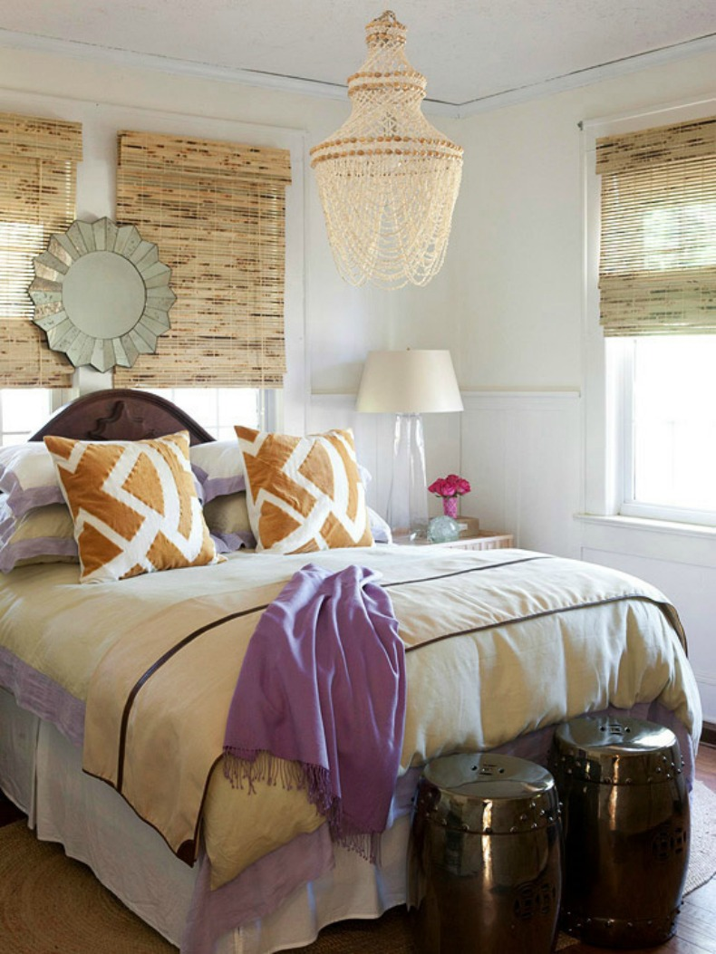 coastal romantic bedroom with seashell chandelier