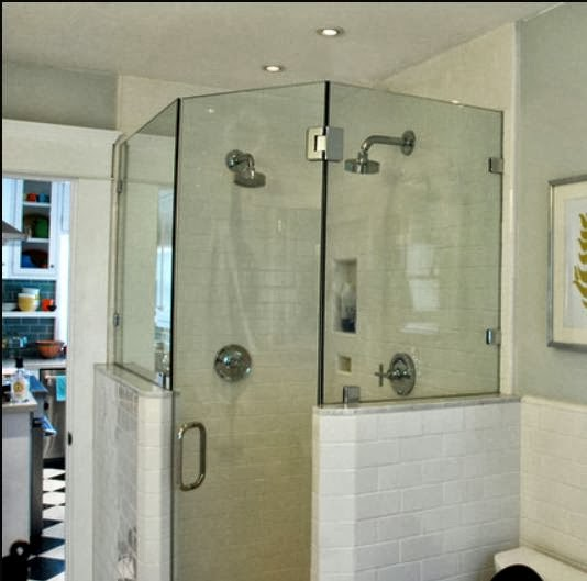 Management Chair: DESIGN IDEA: Half-Height Tiled Shower Wall with ...