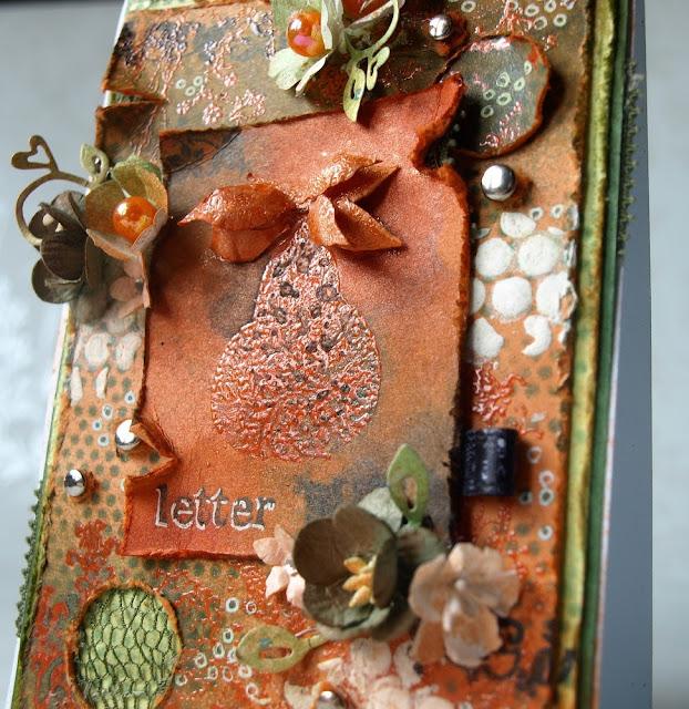 wykrojnik Magnolia - heart swirl _ handmade cars with pear_dżety do ubrań_jet_masks_maska_gesso, PEAR, kartka z gruszką, grucha