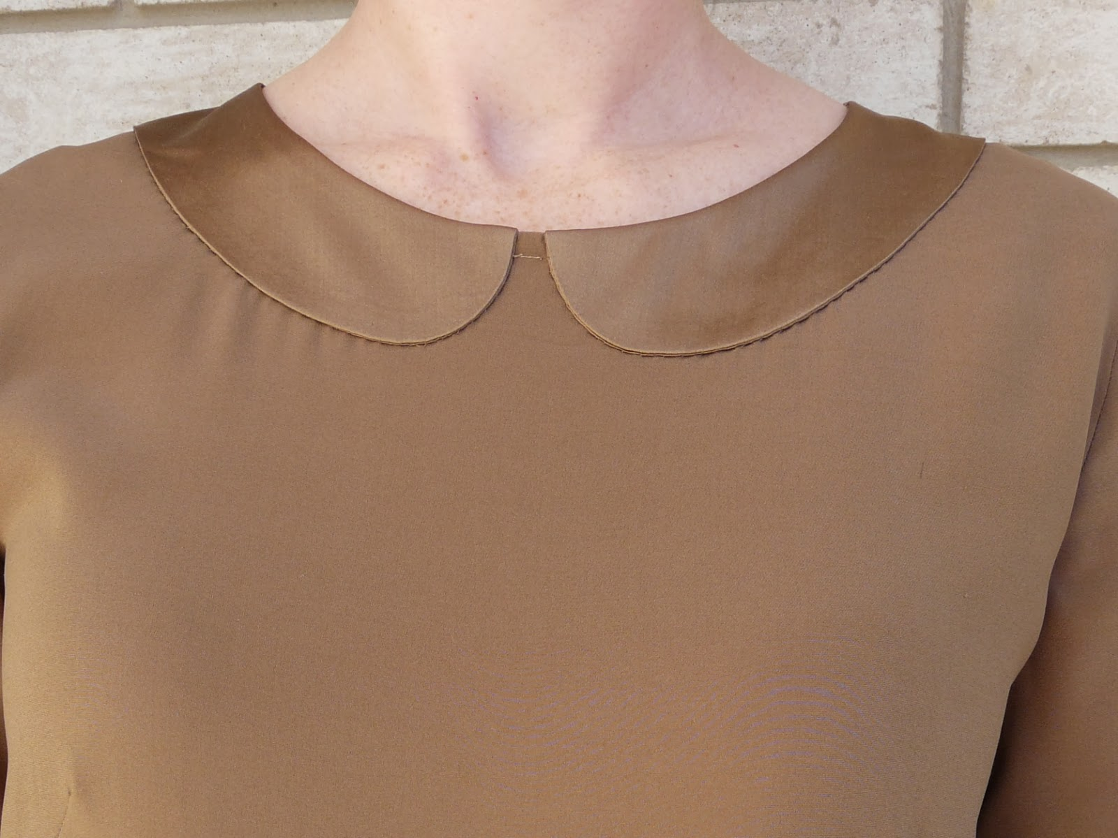 Silk blouse with Peter Pan collar sewn from Mood Fabrics' stretch silk charmeuse.