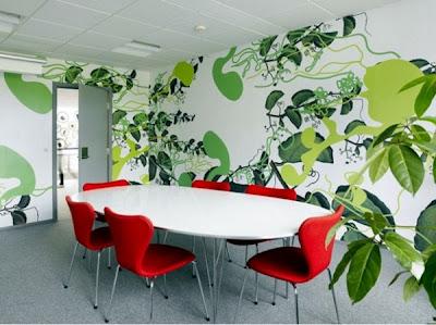 interior kantor modern-nuansa hutan