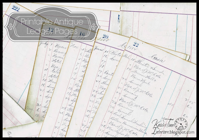 Antique Ledger 1800's Pages Printable Royalty Free Graphics via KnickofTimeInteriors.blogspot.com