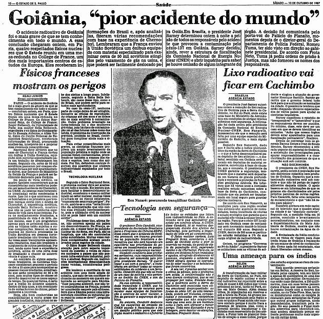artigos jornais acidente radiológico de Goiânia