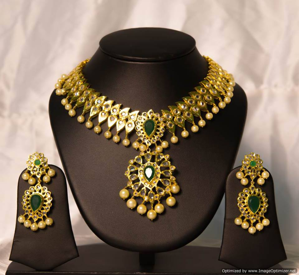 Latest gold necklace designs in grams pachi necklace latest jewellery - Imitation Uncut Diamond Necklace By Chaahat Beautiful One Gram Gold