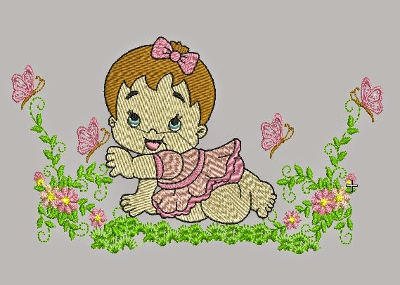 Download free baby girl garden embroidery