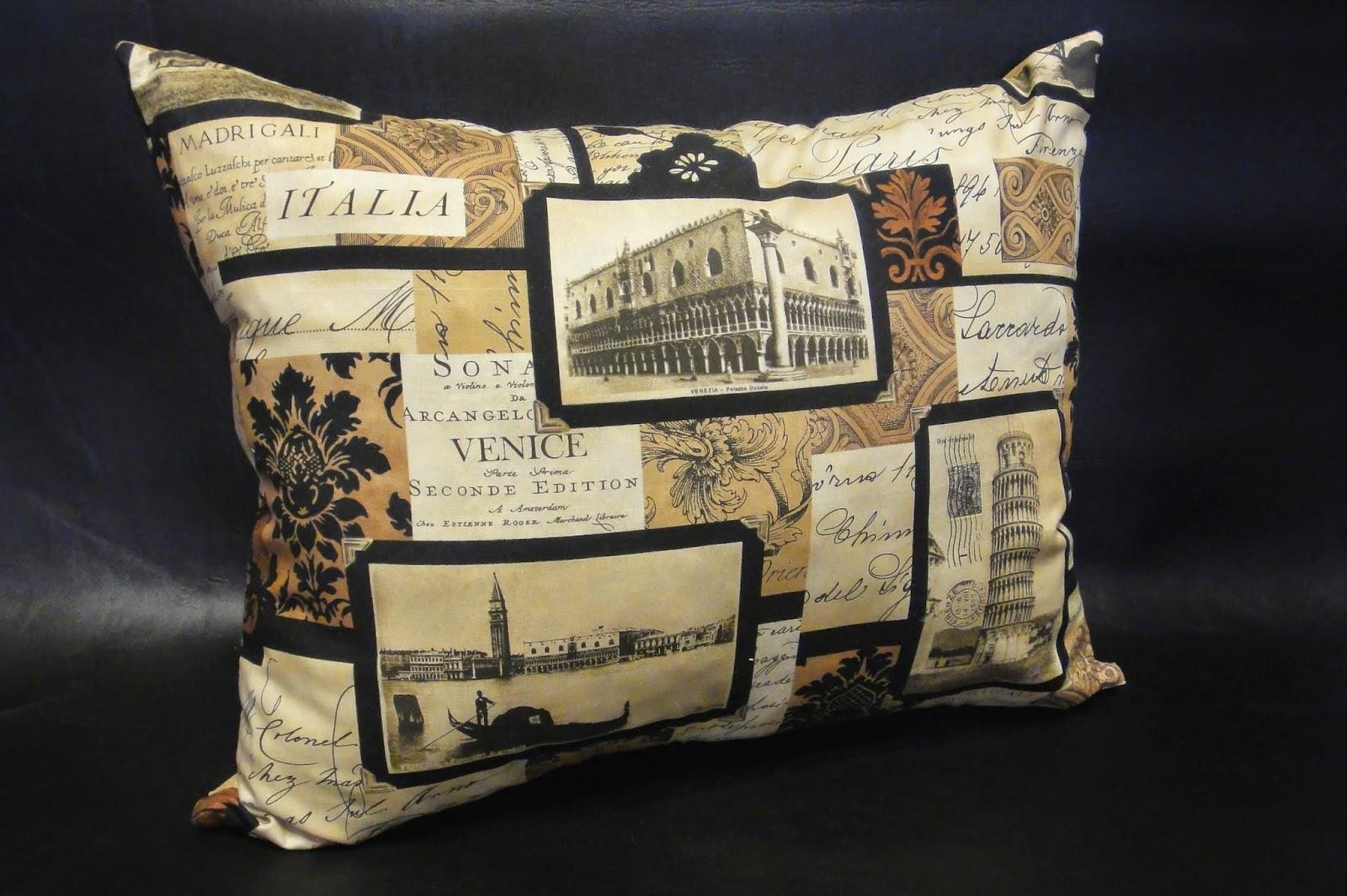 """Модный текстиль для дома, принт """"Символы Италии: Пизанская башня, Венецианская гондола"""""""