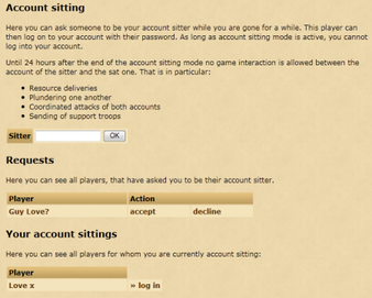 Tribal Wars Account Sitting