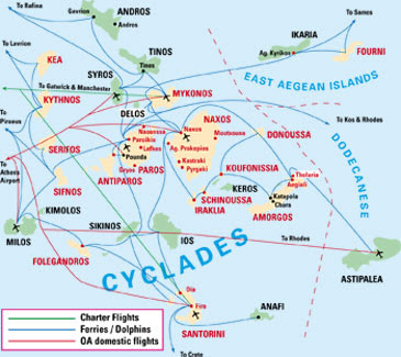 Cyclades Map Regional Province