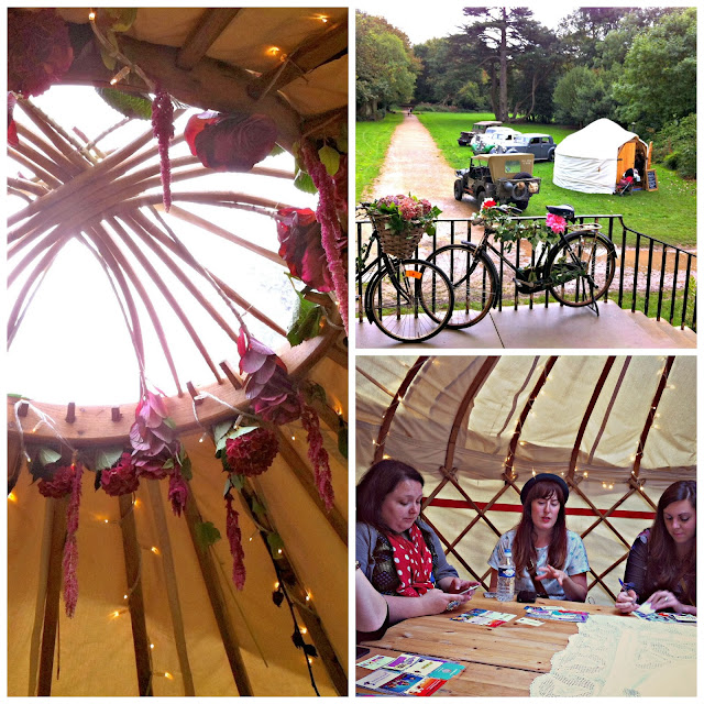 Blogger networking event in the yurt at the Pretty Nostalgic Gathering