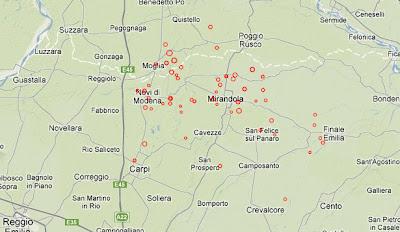 Sísmos registrados en Italia 29-30 de Mayo de 2012