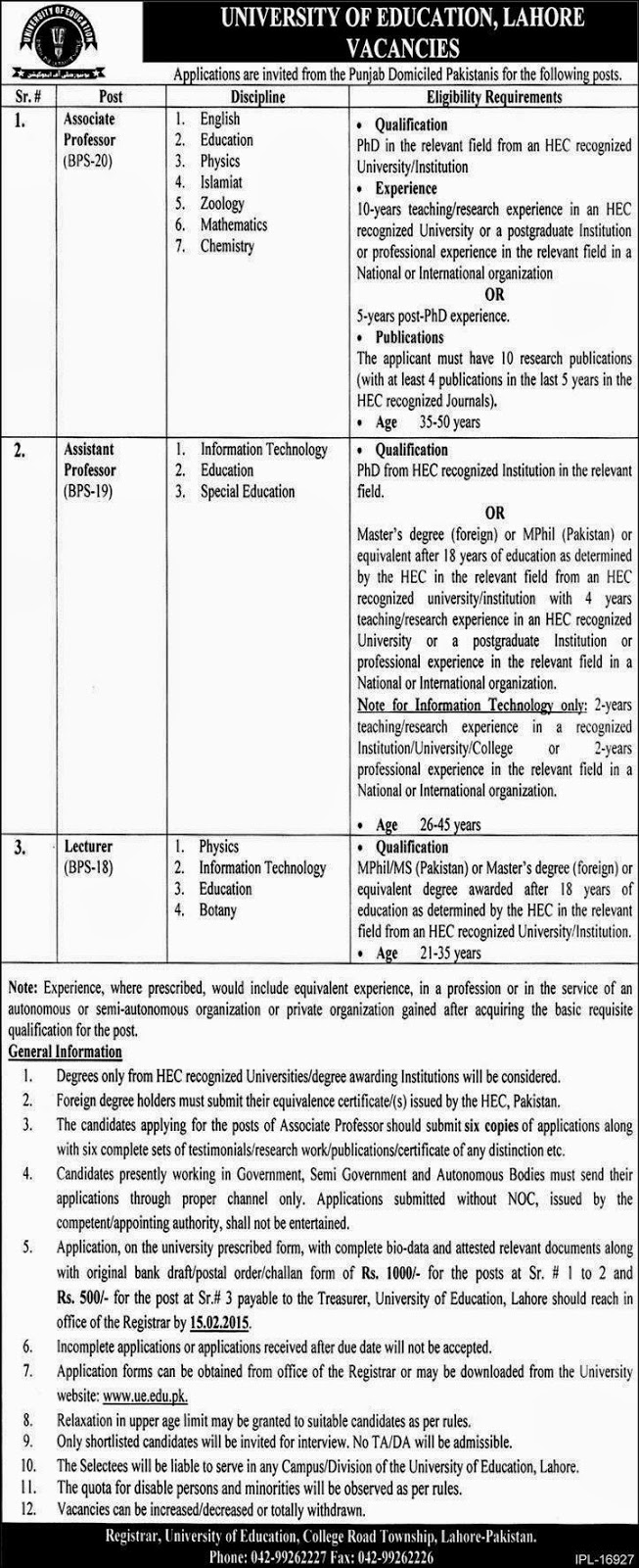 Latest Jobs In University Of Education Lahore