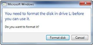 memperbaiki hardisk eksternal minta format