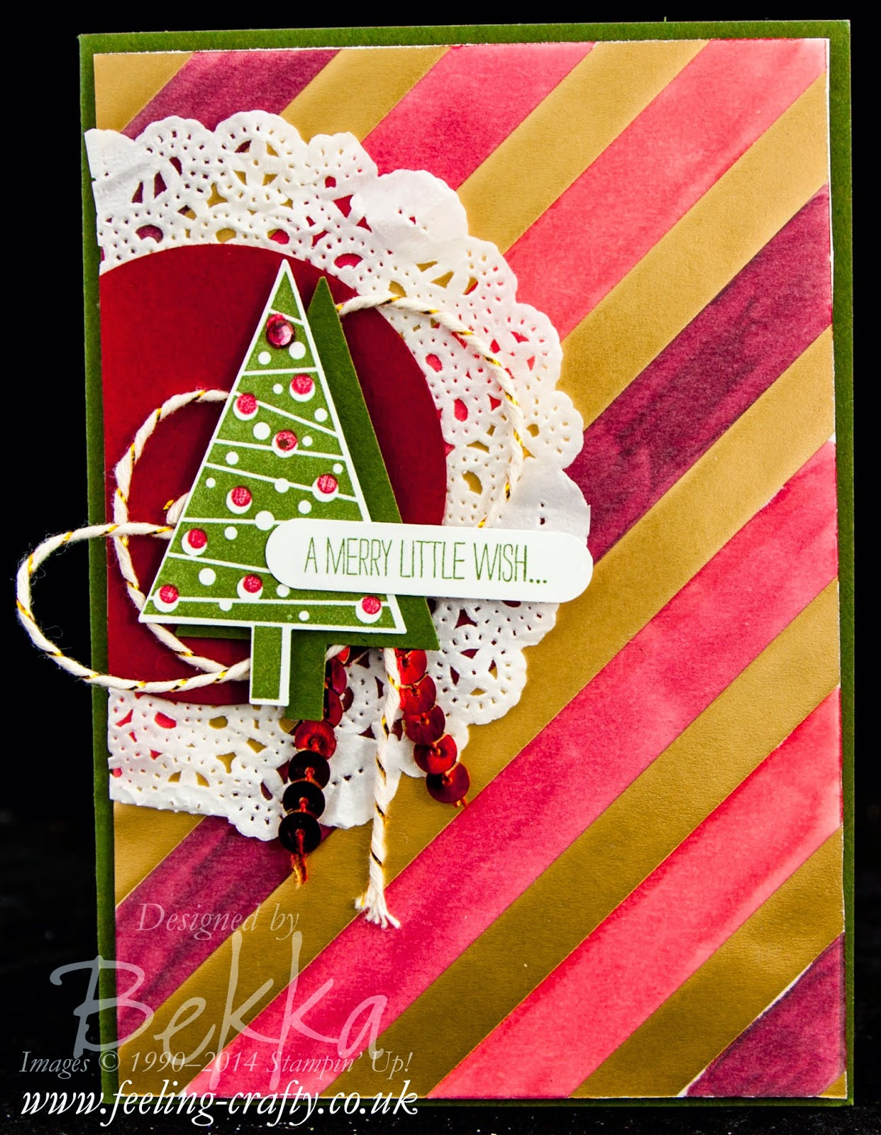 Festival of Trees Christmas Card featuring a Stampin' Blendabilities Background. Check it out here.
