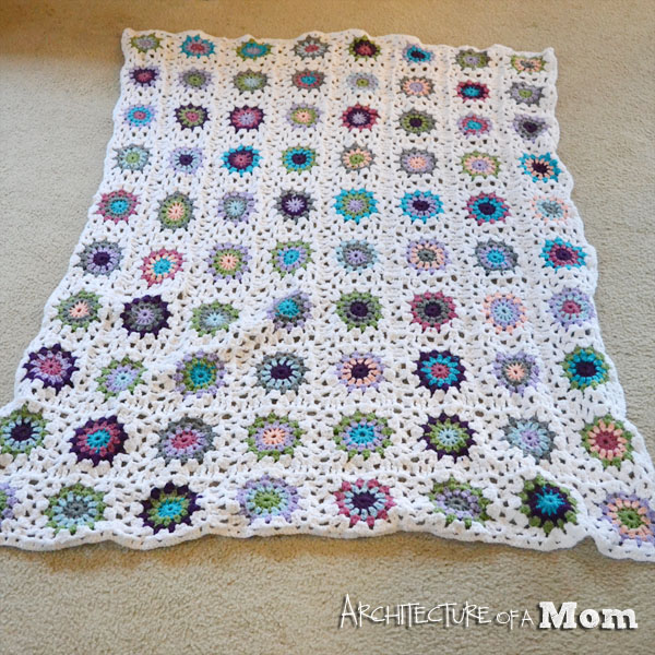 Crochet Circle Blanket with Granny Squares flat