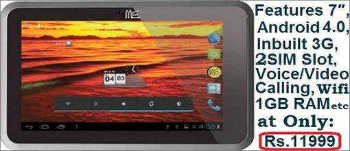 Buy HCL ME Y3 Dual SIM Tablet Lowest Price