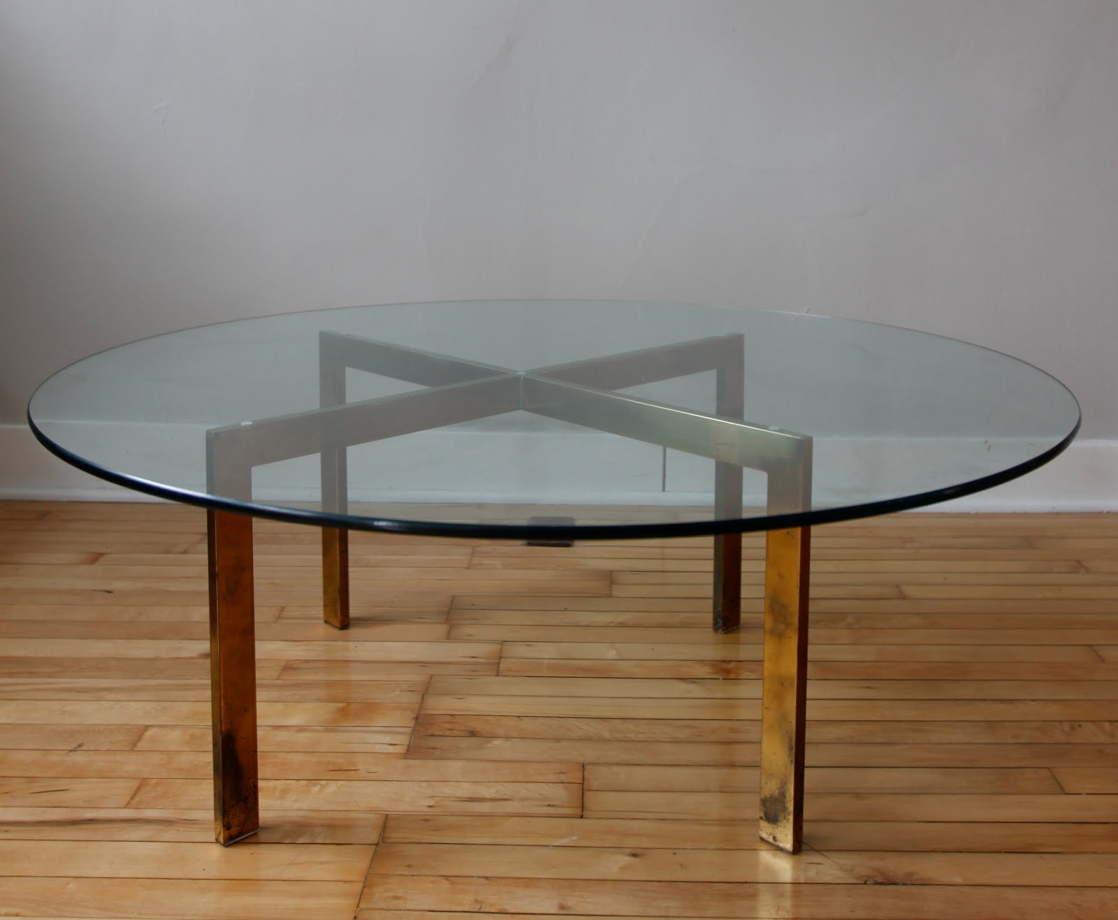 Str8mcm Glass Coffee Table With X Base