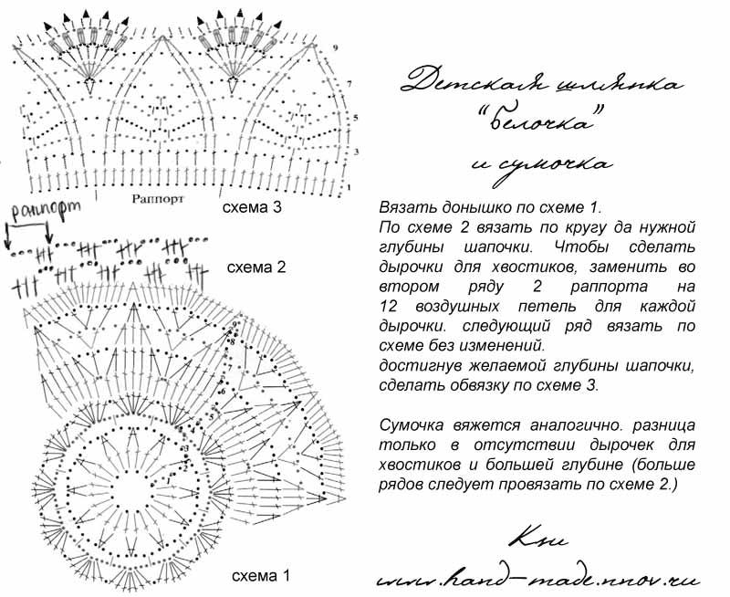 Схема вязания шапочки для девочки крючком на лето 91