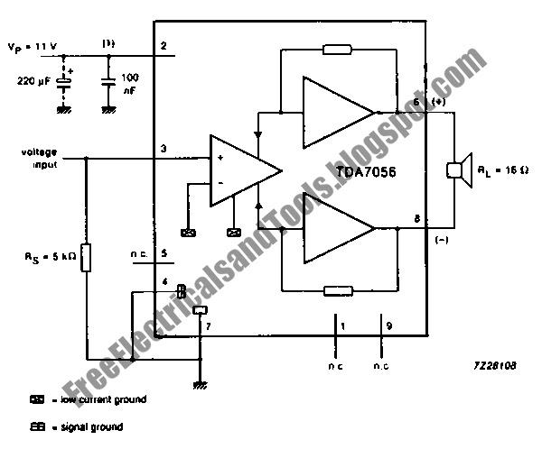 free schematic diagram  tda7056 3w btl mono audio power amplifier circuit