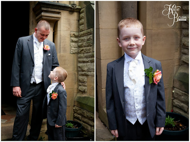 groom and son, ramside hall wedding, durham wedding photography, coral themed wedding, coral bridesmaid dresses, pink and orange bridesmaid dresses, miss piggy roses, ramside hall hotel, st helens church low fell, dere street florist, riding mill florist, katie byram photography, nd make up, brides and beauty durham road,