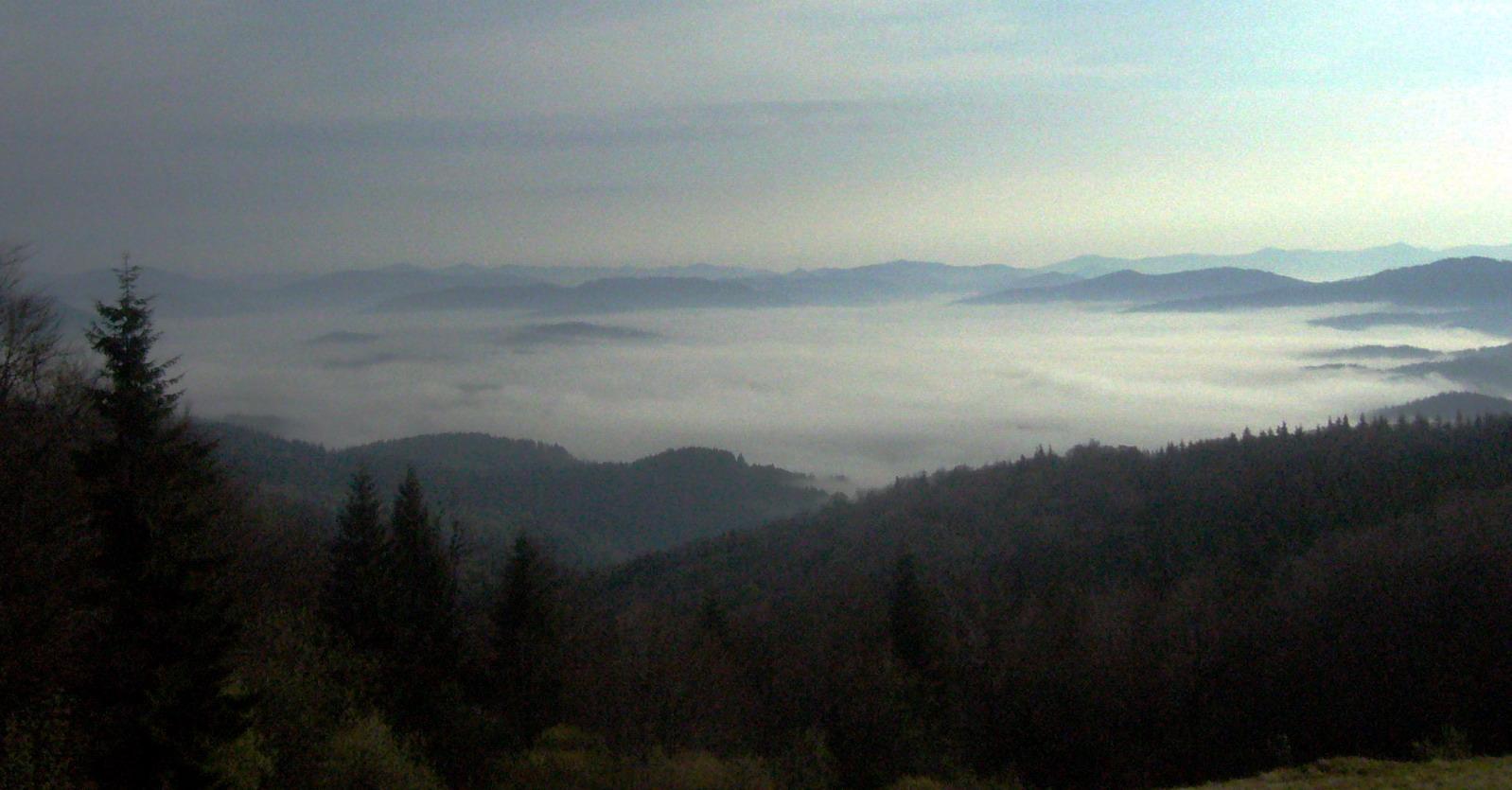 Карпатские горные хребты в утреннем тумане - вид с горы Станеша. Пейзаж.