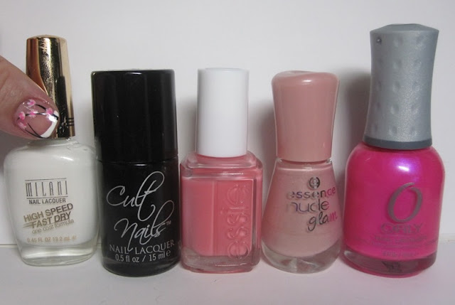 Bottle shot:  Milani White On The Spot, Cult Nails Nevermore, Essie Shop Till I Drop, Essence Iced Strawberry Cream, and Orly Oh Cabana Boy.