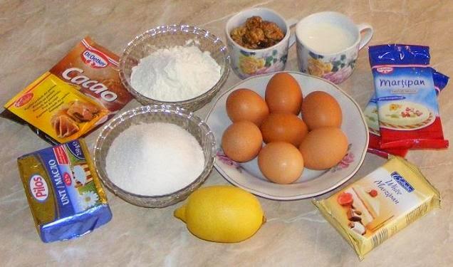 ingrediente pentru tort cu martipan, ingrediente tort, cum se face tortul cu martipan, cum facem tort cu martipan, retete culinare, retete dulciuri, retete torturi,
