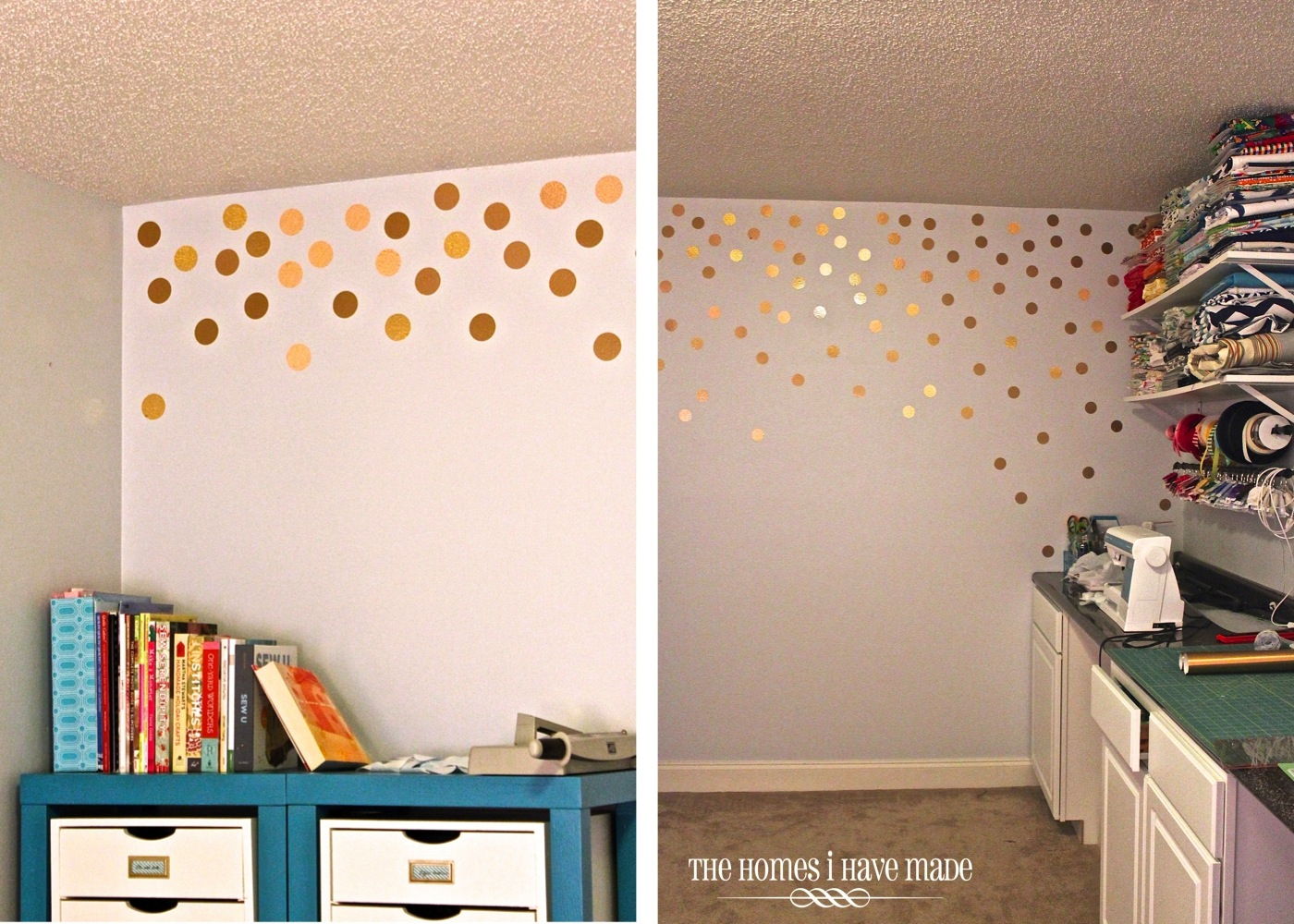 Diy gold polka dot wall the homes i have made for Dots design apartment 8