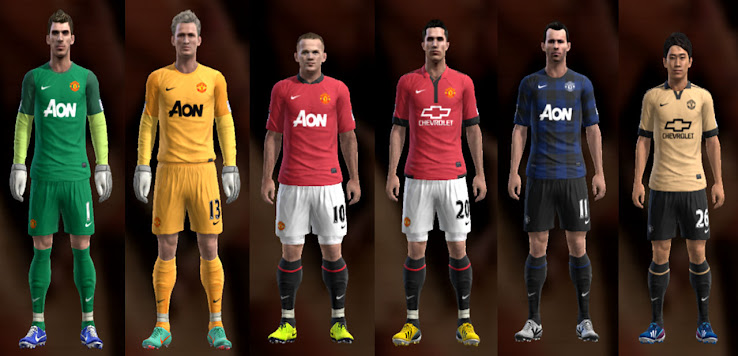 PES 2013 Manchester United 13 14 Kit Set by Ramz