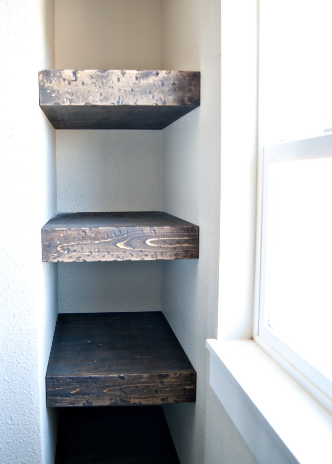 project: kid's bathroom - diy chunky wood floating bathroom shelves | averie lane: project: kid