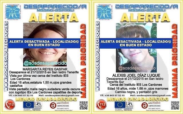 Han sido encontrados los menores desaparecidos de san isidro, Tenerife, Margarita y Alexis