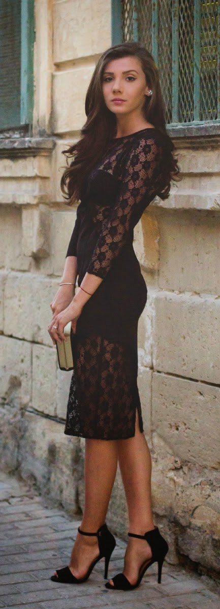 Gorgeous Black Lace Dress with Strap Sandals | Spring Street Outfits