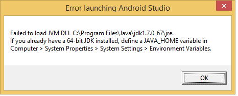Virtually Working: Android Studio - Failed to load JVM DLL message