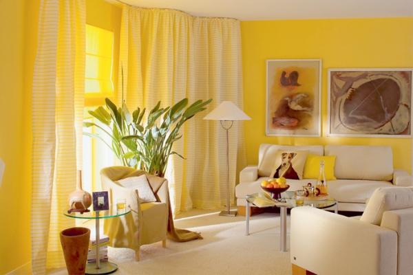 Decoraci n de salas en color amarillo ideas para decorar for Como disenar mi sala