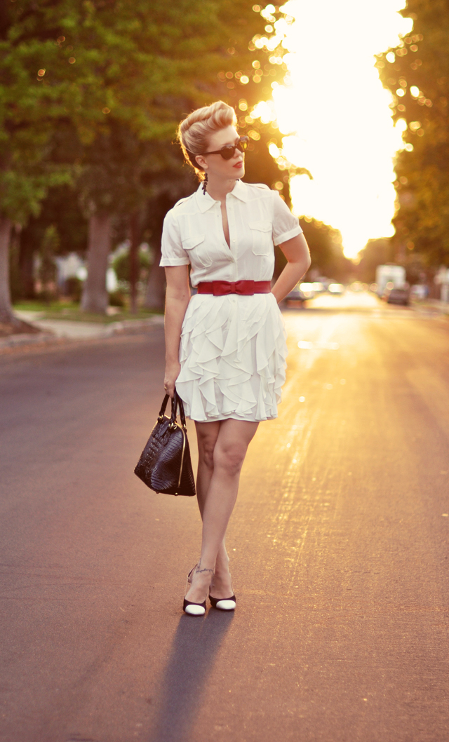 french twist hair, white dress, rachel zoe, vintage, retro, 40's look