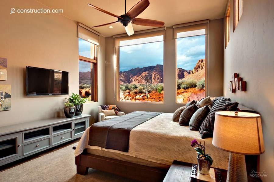 Dormitorio principal de la residencia de adobe en Utah